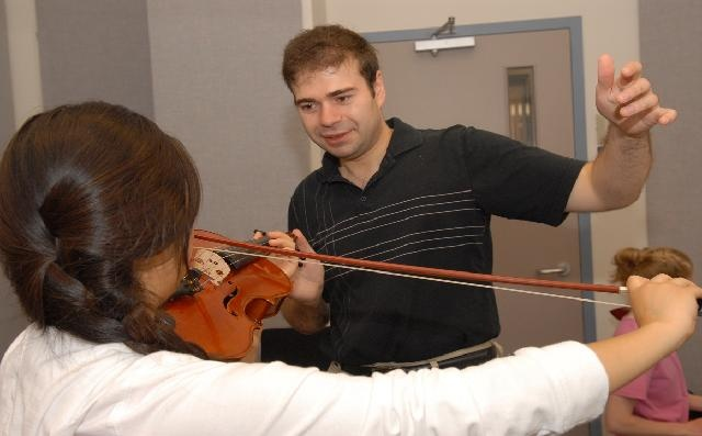 Grigory Kalinovsky with pre-college violinist  Wong-Hee Lee