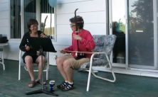 Playing erhu outside with my teacher, Patty Chan
