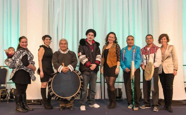 Throat singers Sylvia Cloutier (with son Inuapik) and Beatrice Deer, drummer David Serkoak, throat boxer Nelson Tagoona, singer-songwriter Leela Gilday, Walter Landry, Joseph Nayally from the Dehcho Drummers and Heather Moore.