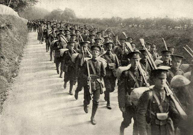 Canadian soldiers on a training march in Salisbury Plain in 1915, near Salisbury Cathedral where the NAC Orchestra will perform this month.