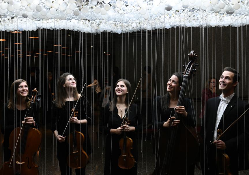 Les jeunes talents de l'Institut de musique orchestrale : Grace Sommer, Alisa Klebanov, Gabrielle Bouchard, Talia Hatcher and Alexander Volkov.