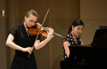 Elaine Menzel, participant of the Young Artists Program, performs at a Works in Progress concert with pianist Jing Yang | Fred Cattroll