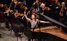 Internationally praised as one of the great all-time interpreters of Bach, Canadian virtuoso pianist Angela Hewitt strikes the final note in her concert with the NAC Orchestra. | Fred Cattroll